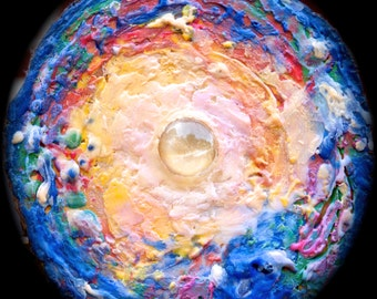 Moon-Glow encaustic painting on cedar wood round slice