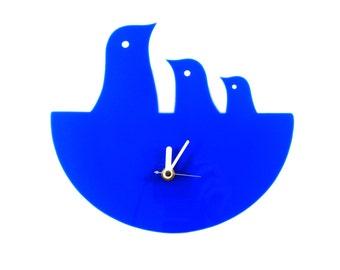 Cobalt Blue Bird Nest Hanging Clock - Wall Clock - Wall Decor