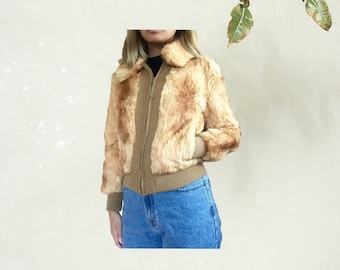 orange genuine fur jacket // vintage 90s 80s