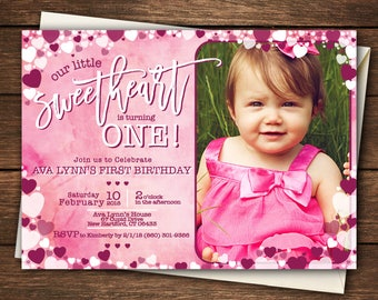 Valentine First Birthday | Our Little Sweetheart | Our Little Sweetheart is turning One |Valentine Invitation | Little Sweetheart Invitation