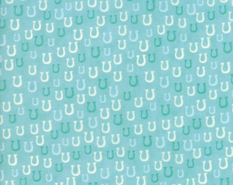 Howdy Horseshoes Aqua from Howdy Collection by Stacy Iest Hsu for Moda Fabrics