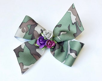 Tycam Handmade Camouflauge/Cheetah Hairbow w/Floral Embellishment (one Hairbow)