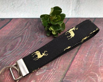 Black and gold deer wristlet keychain, Buck key fob, fabric key fob, key chain, wristlet, stocking stuffer