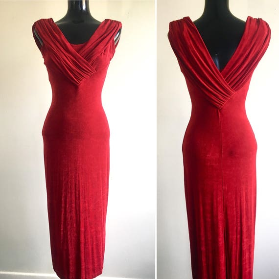 Vintage dress red formal dress Christmas formal dress