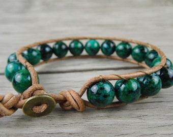 Leather Wrap Bracelet Green Chrysocolla Beads bracelet Yoga bead bracelet Men's wrap bracelet Boho Jewelry Boho Wraps Bracelet SL-0117