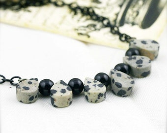 Grounding and confidence necklace - agate and dalmatian jasper