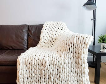 Giant Knit Merino Wool Throw
