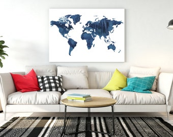 World map watercolor Navy Blue watercolor world map Large world map World map download World map nursery Oh the places we'll go printable