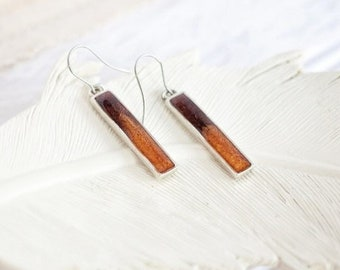 Orange and Brown Bar Earrings, Multi Color Dangle Earrings, Orange Bar Earrings, Brown Bar Earrings, Gift Ideas for Mom, Mothers Day Idea