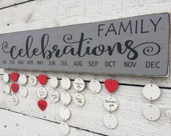 Family birthday board, Mother's Day gift, Family celebrations sign, birthday calendar, wall family calendar, gift for mom, gift for grandma