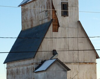 Grainery - rural photograph - rustic country old building art photo blue