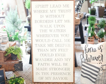 2'X4' Vertical Spirit Lead Me Framed Wood Sign