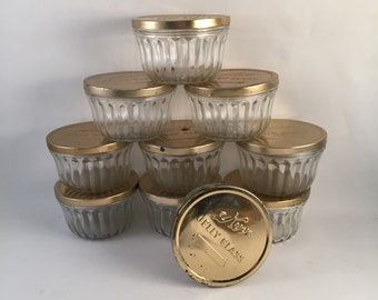 Set of 10 Vintage Kerr Jelly Glass Jars with Gold Tone Aluminum Lids 8 oz. Kerr Imprint on Bottom, Use for Canning, Candles, Gifting Goods