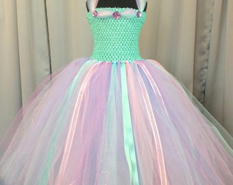 Pastel multi-color princess tulle tutu dress, tulle tutu dress for girls, lavender aqua pink tutu, birthday gift for her, princess dress up