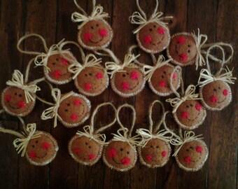 Gingerbread tree ornaments. Handmade. Set of 4 small felt ornaments.