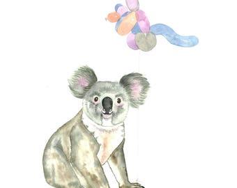Koala with Kangaroo Balloon, Giclée  print, Australiana watercolour wall art, wall art print