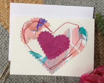 Paint Palette and Pink Hearts Valentine Card