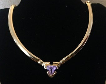 Gold Tone Purple Triangle Amethyst Birthstone Necklace
