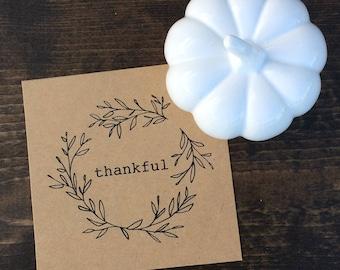 thankful leaf wreath print. hand-drawn. fall decor. thanksgiving decor. table decor. home decor. hostess gift. 4x4. 5x5. 5x7. 8x8. 8x10