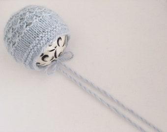 KNITTING PATTERN - Tamarac - Newborn size knit round back  bonnet pattern