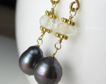 Dark Blue Pearl and Moonstone Earrings