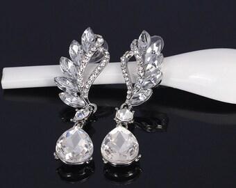 HARPER - Silver pierced Crystal Drop Earrings