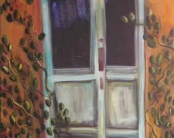 """Southwest Door//Ancient Blue Door //Original Artwork in Acyrlic """"Ancient Door"""" 30 x 40 Impressionism of an Old Weather Door in the Southwest"""