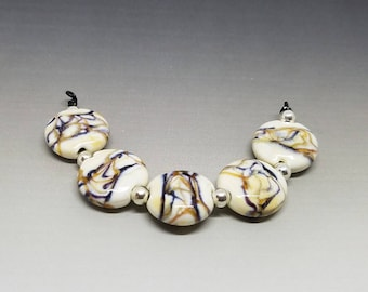 Set of 5 Lampwork Lentils - Glass Beads