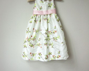 Sweet Little Girl Floral Embroidery White Dress with Pastel Pink and Green Embroidery Flowers, Satin and Tulle with Pink Satin Ribbon Sash