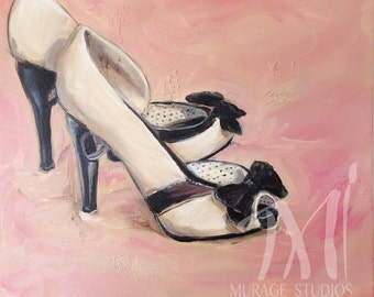 "Original Oil Painting ""Tinkerheart Heels"" - Still life - Fashion Art - Daily Painting (11-3/4"" x 11-3/4"")"