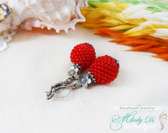 Red bead earrings, Sister sister gift, Red drop earrings bright, Everyday jewelry for mom, Summer party earrings, Seed bead earrings gift