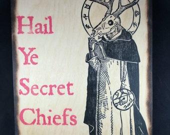 The Mendicant - Mystic Ritual Illuminati Sorcerer Pressed to Wood