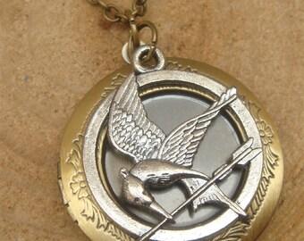 Antique Brass Mocking Bird Locket Necklace Victorian Jewelry Gift Vintage Style