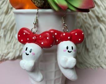 Red Polka Ghostie Earrings