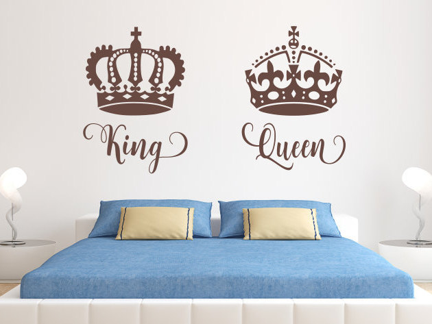 King And Queen Decal, King And Queen Decor, King And Queen, Queen King,  King And Queen Art, Master Bedroom Decal, Gold Wall Decals