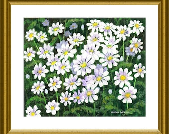 Original Acrylic Art - Patch of Daisies by Patricia Ann Rizzo