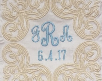 Eleanor Silk Dupioni Wedding Gown Label with Scroll, Monogram and Wedding Date