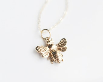 Bee Necklace - Layering Necklace - Gold Bumble Bee Necklace - Honey Bee Necklace - Bumble Bee Charm Necklace - Minimalist Necklace