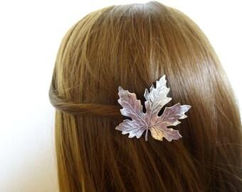 Silver Maple Leaf Hair Clip Bride Bridal Barrette Bridesmaid Woodland Nature Forest Garden Elf Fairy Wedding Accessories Womens Gift For Her