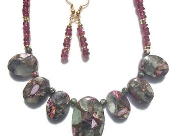 Collar Style Composite Stone Necklace Florite Composite Stone Collar Necklace Amethyst Chip Earrings Jewelry Set S9