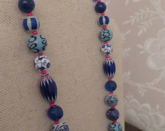 "Multi blue Ceramic, African, Wood, 22"" Necklace, Iris Apfel Style, Boho, Silver Toggle Clasp"
