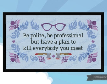 Be Polite Quote - PDF cross stich pattern