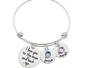Personalized I Love You To The Moon And Back Bracelet - Engraved Jewelry - Bangle - Kids Names - Moon & Back Bangle- Mother Jewelry - 1015