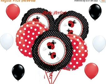 ON SALE Ladybug Red and  Black Balloon Bouquet kit kids party balloons garden party decor supplies polka dot