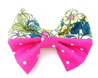 Bright Pink and Green Floral Hair Bow, Pink Polka Dotted Hair Bow, Flower Floral Hair Bow
