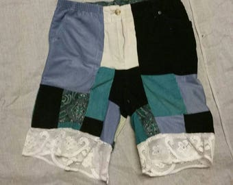 Corduroy and Lace Patchwork Shorts sz 30/32