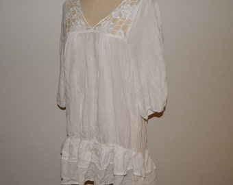Crinkle White Cotton Lace Dress Bust 42 Size US 16