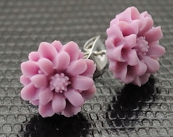 Pink Flower Earrings Stud Post Earrings  Pale Lilac Earrings Petite Floral Jewelry Romantic Jewellery Flower Studs for Nature Lover Gardener