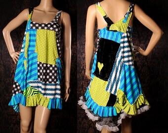Tea Party Patchwork Dress, festival sundress, blue green stripes and polka dot, flare loose fit dress, hippie, Gothic Lolita babydoll dress