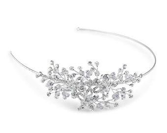 Beau Bridals | Silver Bridal Headband | Bridal Headpiece | Side Tiara | Bridal Hair Accessories | Headband | Crystal Headband | Wedding